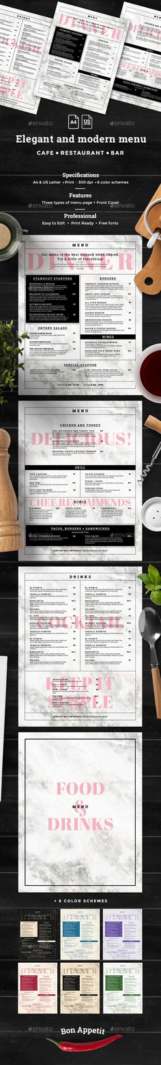 Rock Cafe Restaurant Menu Template Fonts, Restaurant and Texts - food menu template