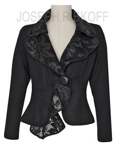 Joseph Ribkoff Jacket. Crop jacket with lace trim.