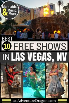 Las Vegas Shows - a guide to the 10 Best Free Shows in Las Vegas featuring free circus shows free mermaid shows an erupting volcano an indoor rainstorm Venetian Carnival free musical performances and more. Las Vegas Strip, Las Vegas Shows, Las Vegas Free, Visit Las Vegas, Las Vegas Nevada, Las Vegas With Kids, Vegas Fun, Mirage Hotel Las Vegas, Linq Las Vegas