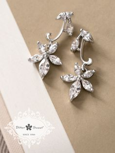 Bitter Sweet Jewellery Bridal Collection, earrings. #elegant #bridal #leaf #floral #delicate #wedding #gown #CZ #sparkle