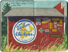 Replica of an egg cooperative advertisement, Vashon Island, WA.