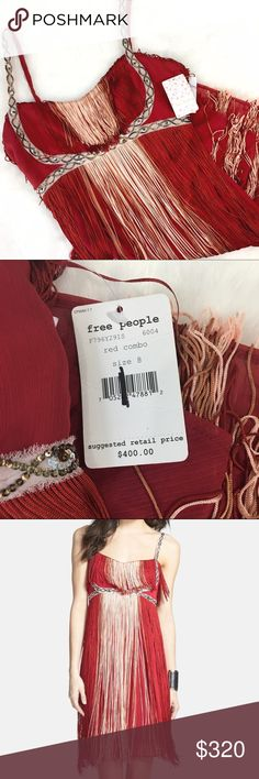 "NWT Free People Red Combo Fringe Dress This is a STUNNING piece of boho beauty! Perfect condition, NWT and amazing fun to wear! Bust: 17"" Empire Waist: 15"" measurements made with garment laid flat. Fits true to size. Free People Dresses"