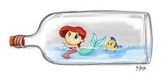 Ariel and Flounder in Bottle by favius on DeviantArt