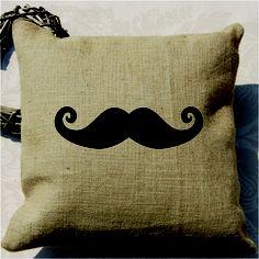 Moustache Screen Print Cushion by Acacia Design
