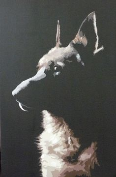 Original acrylic painting on canvas - German Shepherd. Painted by Emily Proctor at www.canineoncanvas.co.uk   Copyright Emily Proctor