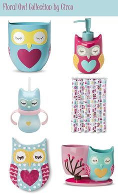 "My Owl Barn: ""Floral Owl"" Bath Accessories"