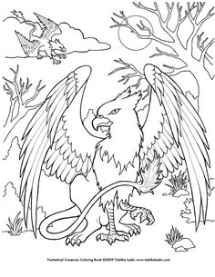 """A page from my """"Fantastical Creatures Coloring Book"""". Hand drawn with ink on paper. Feel free to color but please give me credit if you post it. Fantastical Creatures Coloring Book is available at ..."""