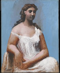 Pablo Picasso - Blue Period - Seated Woman in a Chemise, 1923 Kunst Picasso, Art Picasso, Picasso Paintings, Picasso Portraits, Oil Paintings, Picasso Drawing, Portrait Paintings, Indian Paintings, Abstract Paintings