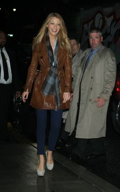 Blake Lively wearing J Brand Woodstock Jeans, Christian Louboutin Bibi 140 suede pumps, Burberry Leather trench coat In Dark Brown, Burberry Dark Blue Scarf,