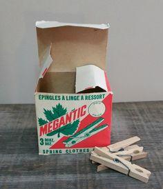 Vintage Wooden Spring Clothespins, Megantic Wooden Spring Clothespins, Wooden Pegs by EmptyNestVintage on Etsy