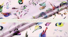 Vogelprint - Zijden,Satijn,Eco-stoffen,Vogelprint,roze,Organza - Een uniek product van FabricMade op DaWanda