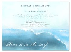 Swamis Surf waves wedding invitations, inspired by our love for surfing the California beaches. (Ocean Beach!)