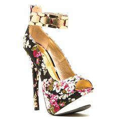 Count-76 Black Floral Platform #Pump Stiletto #Heels
