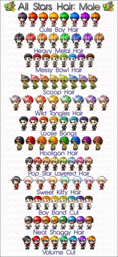 MapleStory :: ALL STARS, Boy Band Cut, Cute Boy Hair, Heavy Metal Hair, Hooligan Hair, Messy Bowl Hair, Neat Shaggy Hair, Pop Star Layered Hair, Scoop Hair, Sweet Kitty Hair, Volume Cut, Wild Tangles Hair, Loose Bangs, all stars coupon, all stars, all stars hair coupon, male all stars hair, male all stars hair coupon