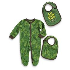 John Deere Baby Eat, Sleep, Farm Coverall and Bib Set-John Deere Eat, Sleep, Farm Baby Layette Set Button Up Snap with TractorsLicensed ProductsIncludes ONE two sided bib Tractor Baby Shower, Baby Boy Shower, John Deere Baby, Baby Bibs Patterns, Bib Pattern, Baby Eating, Baby Boy Outfits, Outfit Sets, Layette