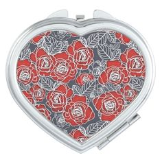 Floral Pattern Compact Mirror