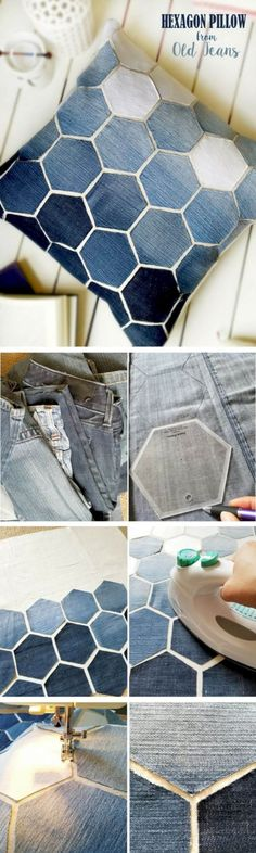 Upcycled Denim Hexagon Design Pillow