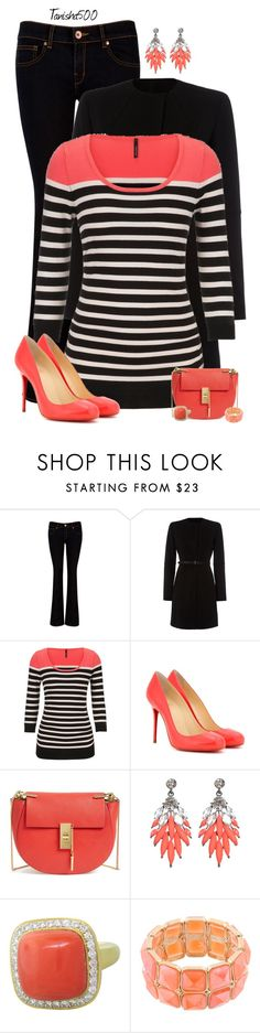 """""""Peach, Black and White!!!:)"""" by tanisha500 ❤ liked on Polyvore featuring Ted Baker, Marella, maurices, Christian Louboutin, Chloé, Atmos&Here and AtStyle247"""