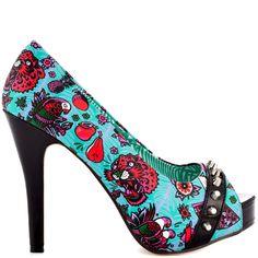 7891f243f714 Loco Moan P Toe Plat heels Blue brand heels Iron Fist