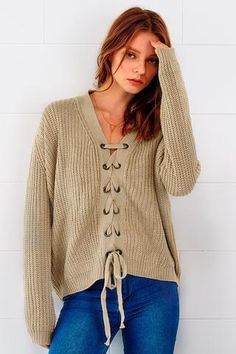 Cupshe Nice To Meet You Lace Up Sweater