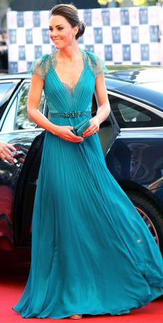 Jenny Packham Teal Chiffon Gown.  Gorgeous.