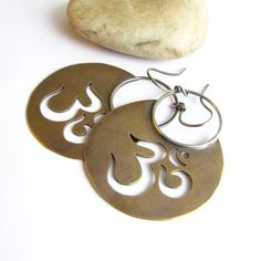 Large Om Earrings Bronze And Sterling Silver Aum Metaphysical Jewelry - Mixed Metal Symbolic Earrings