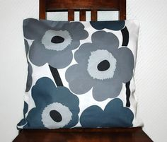 "16"" x 16"" Throw pillow cover made from grey Marimekko Unikko fabric, pillow cover, cushion cover, decorative pillow, couch pillow cover by leonorafi on Etsy"