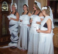 I've done this at two bridal showers. Always a hit and lots of fun. A good icebreaker. Make teams to dress up each bridesmaid and have bride vote!