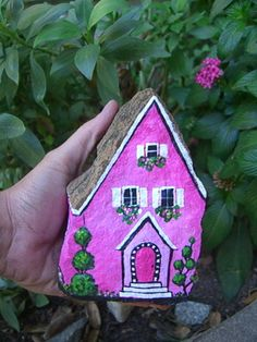 PINK PANTHER'S PAD - hand painted rock house - funky fun
