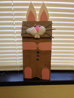 Bunny-Need: Brown paper bag, construction paper, cotton balls, puff balls, jewels or buttons, eyes