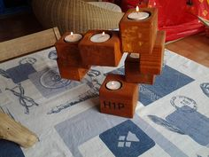 Candle Holder From Upcycled Pallet Blocks #CandleHolder, #RecycledPallet