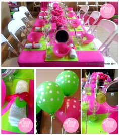 Courtney P's Birthday / Spa Party - Preppy Pink and Green Birthday Party at Catch My Party Barney Birthday Party, Zombie Birthday Parties, Watermelon Birthday Parties, Zombie Party, Birthday Party Decorations, Girl Birthday, Birthday Table, Birthday Ideas, Birthday Wishes