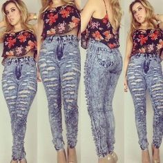 High Waist Blue Distressed Acid Wash Jeans All Sizes! 1,3,5,7,9,11,13,15  #highwaist #jeans #distressedjeans #highrise #fashion #trendy #giftidea #style