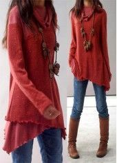 Red Cowl Neck Long Sleeve Asymmetric Blouse | Rosewe.com - USD $33.23