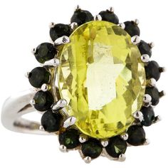 Pre-owned Lemon Quartz and Tourmaline Ring ($775) ❤ liked on Polyvore featuring jewelry, rings, white, 14 karat gold ring, 14k jewelry, white jewelry, oval rings and polish jewelry