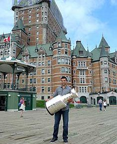 Patrice Bergeron and the Stanley Cup spent some time take photos outside of the Chateau Frontenac. (Howie Borrow/Hockey Hall of Fame)