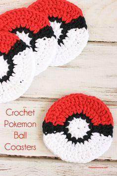 Crochet Coasters: Pokemon Go Pokeball Crochet Pattern, crochet Pokemon pattern, crochet pokeball, ro