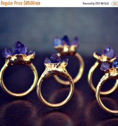 BLACK FRIDAY AMETHYST Mountain /// Stackable Gemstone Gold Electroformed Ring