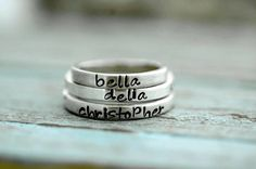 Personalized Hand Stamped Stacking Rings door SomethingAboutSilver, $32.00