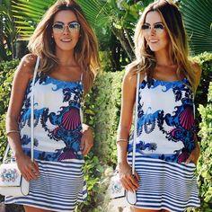 Mix de estampas que amei usar esses dias! Azul & ⓑⓡⓐⓝⓒⓞ da @lezalez para uma tarde de verão!  #looksreuchoa #ootd