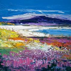 Halaman Bay, Isle of Barra - Limited Edition Giclee Print by John Lowrie Morrision (Jolomo). I have not been to Barra in such a long time, this makes me want to return! Abstract Landscape, Landscape Paintings, Seascape Paintings, Watercolor Landscape, Art Paintings, Watercolour, Landscapes, Summer Art, Framed Art Prints