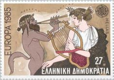 Music Contest Between Apollo & the Satyr Marsyas Stamp Rare Stamps, Vintage Stamps, Apollo Mythology, Roman Mythology, Son Of Zeus, Postage Stamp Art, Satyr, Gay Art, Stamp Collecting