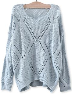 Solid Open-Knit Diamond SweaterOASAP Giveaway, 10 pieces per day, till the end of 2014! Easiest way to get free clothing!