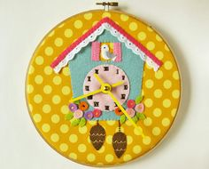 Cuckoo Clock - appliqué on yellow polka dots embroidery hoop.