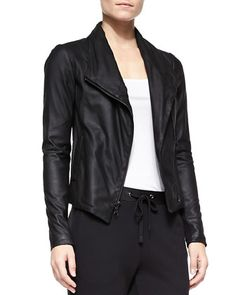 Scuba-Style Leather Jacket by Vince at Neiman Marcus.