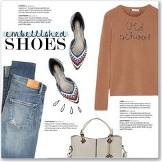 Magic Slippers: Embellished Shoes by kellylynne68 on Polyvore featuring Lingua Franca, Citizens of Humanity, Stuart Weitzman, Old Navy and embellishedshoes