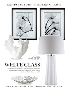 Fashion style white glass lamp; match the white lamp shade up with table lamp are lighted up the whole space, intellectual and graceful.