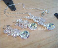 Crystal Teardrop & Pearl Necklace and Earring Set by bonitaj