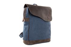 Image of Canvas Leather Backpack Rucksack School Backpack Casual Backpack 12032