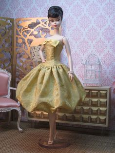 Iced Citron Silk Damask Bubble Dress by Bellissimacouture on Etsy